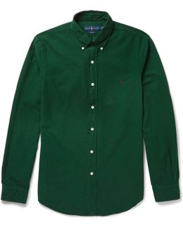 Slim-fit Button-down Collar Garment-dyed Cotton Oxford Shirt