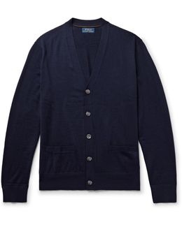 Suede Elbow-patch Merino Wool Cardigan