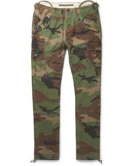 Slim-fit Camouflage-print Cotton-canvas Cargo Trousers