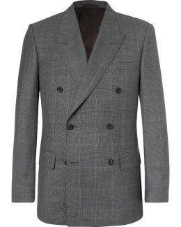 Harry's Grey Double-breasted Prince Of Wales Checked Wool Suit Jacket