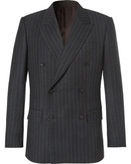 Eggsy's Charcoal Double-breasted Chalk-striped Wool Suit Jacket