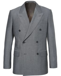 Eggsy's Grey Double-breasted Wool And Mohair-blend Suit Jacket