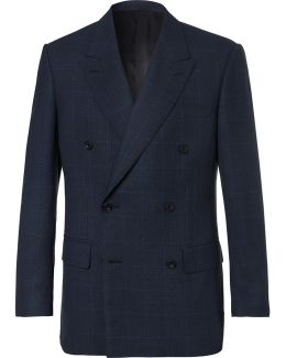 Arthur's Navy Double-breasted Checked Suit Jacket