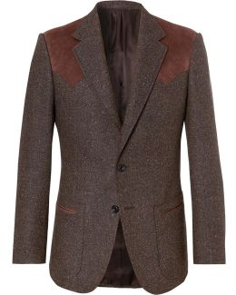 Jack's Statesman Brown Alcantara-trimmed Donegal Wool Blazer