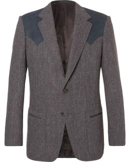 Jack's Statesman Grey Alcantara-trimmed Donegal Wool Blazer