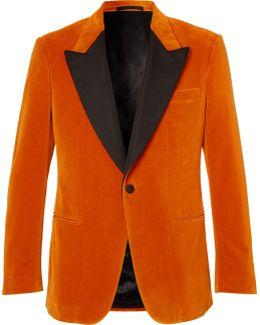 Eggsy's Orange Silk-trimmed Cotton-velvet Tuxedo Jacket