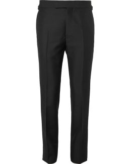 Eggsy's Black Wool And Mohair-blend Tuxedo Trousers
