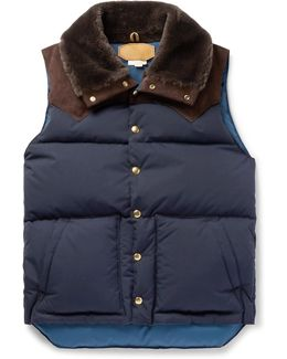 Rocky Mountain Featherbed Suede And Shearling-trimmed Quilted Faille Down Gilet