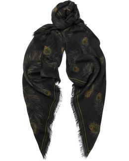 Fringed Printed Modal And Silk-blend Scarf