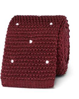 6cm Polka-dot Knitted Silk Tie