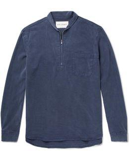 Shawl-collar Washed-twill Half-zip Shirt