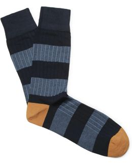 Striped Ribbed Cotton-blend Socks