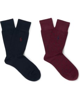 Two-pack Stretch Cotton-blend Socks