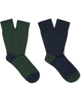 Two-pack Ribbed-knit Cotton-blend Socks
