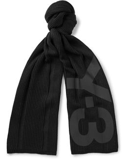 Printed Ribbed Cotton-blend Scarf