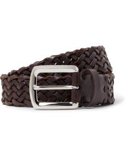 3.5cm Brown Woven Cross-grain Leather Belt