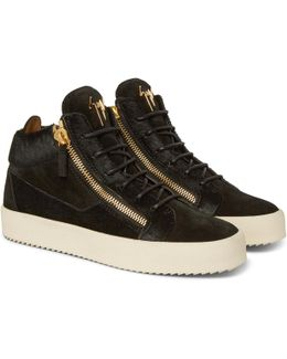 Logoball Calf Hair And Suede High-top Sneakers
