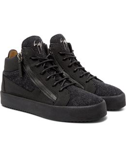 Rubber-crepe And Felt High-top Sneakers