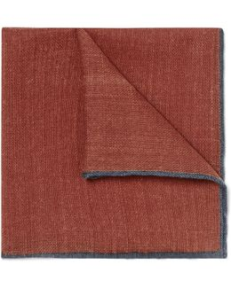 Contrast-tipped Wool Pocket Square