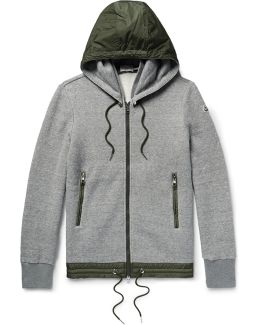 Slim-fit Nylon-trimmed Cotton-blend Jersey Zip-up Sweatshirt