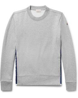 Shell-panelled Fleece-back Cotton-jersey Sweatshirt