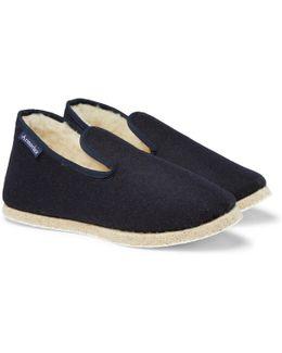 Shearling-lined Wool-felt Slippers