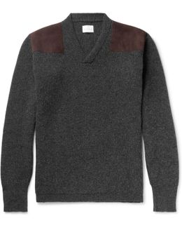 Merlin's Suede-panelled Ribbed Wool Sweater