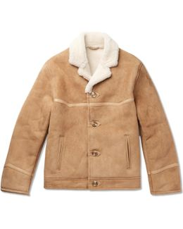 Tequila's Statesman Leather-trimmed Shearling Bomber Jacket