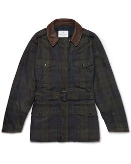 Mackintosh Merlin's Leather-trimmed Checked Waxed-cotton Field Jacket