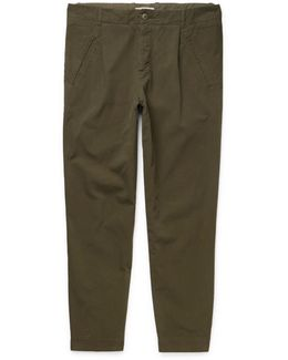 Assembly Tapered Garment-dyed Cotton-canvas Trousers