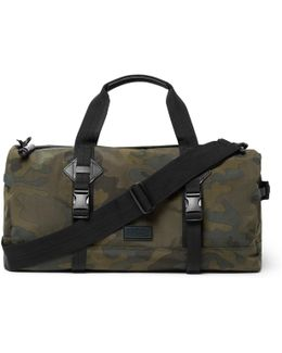 Leather-trimmed Camouflage-print Canvas Duffle Bag