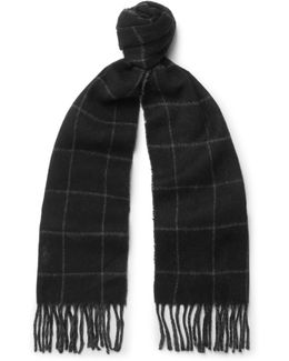 Checked Wool-blend Scarf