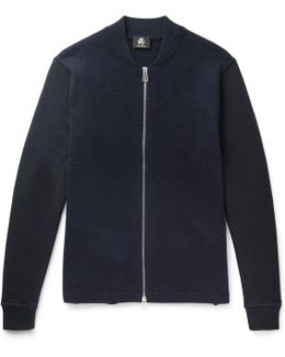 Jersey-panelled Wool Zip-up Cardigan