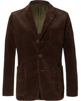 Brown Slim-fit Cotton-corduroy Blazer