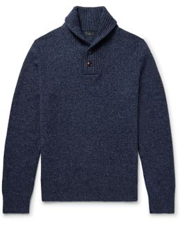 Shawl-collar Mélange Wool Sweater