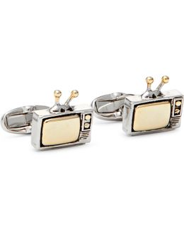 Tv Silver And Gold-tone Cufflinks