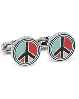 Peace Enamelled Silver-tone Cufflinks