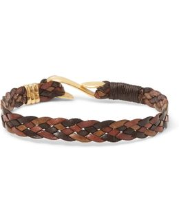 Woven Leather Gold-tone Bracelet