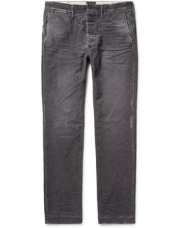 Meron Slim-fit Distressed Cotton-blend Corduroy Trousers