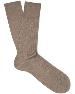 Ribbed Cashmere Socks