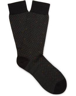 Midford Patterned Escorial Wool-blend Socks