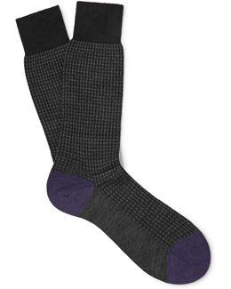 Hatherley Herringbone Merino Wool-blend Socks