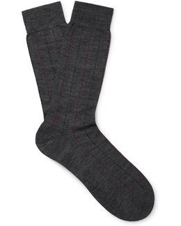 Cabbell Pinstriped Merino Wool-blend Socks