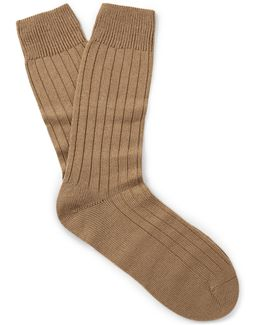 Packington Ribbed Merino Wool-blend Socks