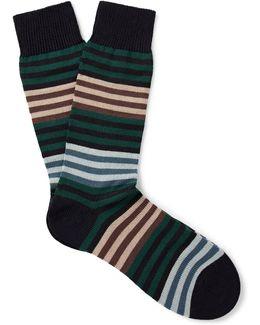 Sudbury Striped Merino Wool-blend Socks