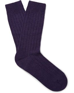 Waddington Ribbed Cashmere-blend Socks