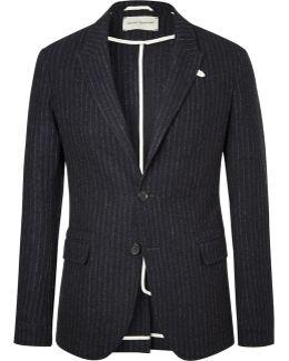 Navy Brookes Pinstriped Virgin Wool Blazer