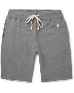 Cut-off Fleece-back Cotton-blend Jersey Shorts