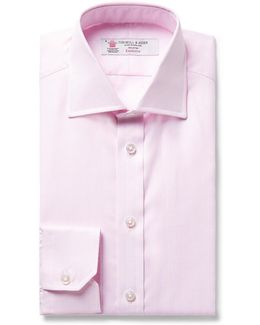 Pink Slim-fit Woven Cotton Shirt