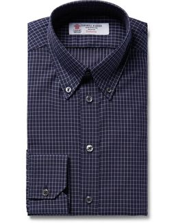 Midnight-blue Slim-fit Button-down Collar Checked Cotton Shirt